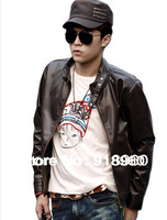 new promotion men's leather jacket coat/fashion male overcoat/Korean style big size L~XXL good quality outwear/Free shipping