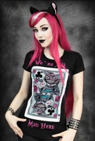 RE023 New Arrival 2013 hot sales Poker cat animal women restyle fashion digital printed Short-sleeved T-shirt tees tops