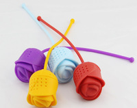 5 Piece/Lot Brand New Rose Tea Bags Strainers Silicone Teaspoon Filter FOOD Grade Silica Gel Filtration