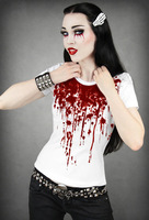 RE002 New Arrival 2013 hot selling women restyle Europe Vampire bloody fashion digital printed Short-sleeved T-shirt tees tops