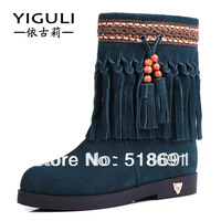 Autumn and winter scrub women's genuine leather shoes boots female tassel boots flat bottom elevator flat heel snow boots