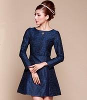 2014 autumn fashion vintage jacquard embroidered diamond long-sleeve slim one-piece dress princess dress  Free shipping