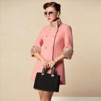 Women's high quality overcoat beaded diamond woolen outerwear Set auger woolen Dust coat