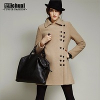 Fashion british style woolen trench outerwear double breasted slim woolen overcoat Dust coat