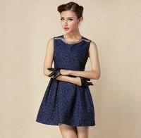 2014 autumn and winter fashion vintage  jacquard mini dress neckline slim sleeveless one-piece dress Free shipping