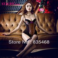 Free Shipping New Leopard Women Sexy Lingerie Sets With Fishnet Stockings Condole Belt Female Nightwear Lady Seductive Bodysuits