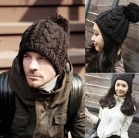 HAT010 Free Shipping 2013 Hot Fashion women knitting winter Hats men twist wool knitted cap unisex  warm beanie hat with ball