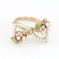 New Charms Twinkling Women Pearl Crystal Rhinestone Bowknot Cute Finger Rings Fashion Opening Jewelry