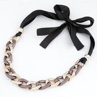 Cheap New Fashion Gothic Punk Korean Style Charms Exaggerated Wide 2Colors Metal Chain Women Necklace