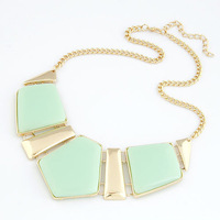 (Mix Items)European Fashion Exaggerated Geometric Box Fruit Green Resin Gem Bib Choker Statement Necklace for Women
