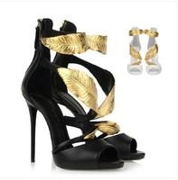 2014 GZ women summer fashion GZ gold leaf  high-heel pump sandals wedges Genuine Leather pump sandals for women giuseppe heels