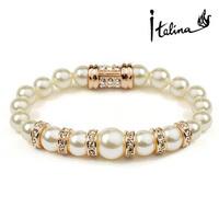 Italina New Pearl Bracelets Elegant Women Jewellry With Rhinestone 18K Gold Plated