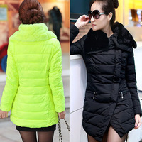 2013 New Fur Collar Winter Fashion Thickening Wadded Jacket Women Long Jackets Down Parka Free Shipping %^