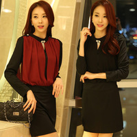M~3XL!! New 2014 Autumn Women Fashion Plus Size Faux Two Piece OL Formal Long Sleeve Drop Waist Brand Sheath Dresses + Diamond