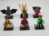 Super Heroes 6 pcs/lot Loki/Robin/Ninja/Green Lantern the Avengers Series' Action Figure Building Block Toys