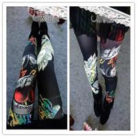 P33 New Arrival Autumn EUROPE Rose Black Pattern Scrawl Print Skinny Seamless Elasticity Pants Fashion Women's Leggings