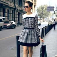 2014 Spring Autumn Winter Dress Women Houndstooth Plaid O Neck Vestidos European Long-sleeve Ball Gown Plus Size Dresss PH0506