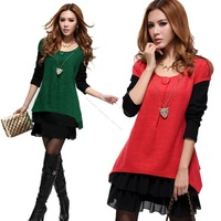 2013 Europe New Hot Fashion Ladies False Two Pieces Long Sleeve Two Tones Splicing Dress With Sweater Chain 17942 F