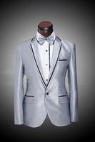 2014 Flat Collar Tuxedo Jacket Costume Colors Men's Wedding Suit Grey Wedding Suits for Men Three Piece Suit((Jacket+Pants+Tie)