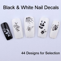 Flower Music Spider Black & White Nail Art Decals Stickers Water Transfer False Natural