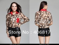 Hot Sale 2013 New Arrival Fashion Women Chiffon Blouse Top Shirts Long Sleeve Leopard Print Lady Shirt  Autumn Free Shipping
