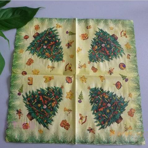 33*33cm Christmas Tree Painting Paper Napkin Tissue Fold Napkin Christmas Party Supplies 100pcs/lot SD164(China (Mainland))