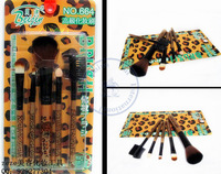 5 in1 brush Leopard sets professional natural hair Makeup Kit cosmetic tool bag blush eyeshadow eyebrow  wholesale