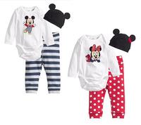 Loveable unisex baby suit/3-piece set: baby bodysuit+long pants+cute hat/New arrived baby clothes