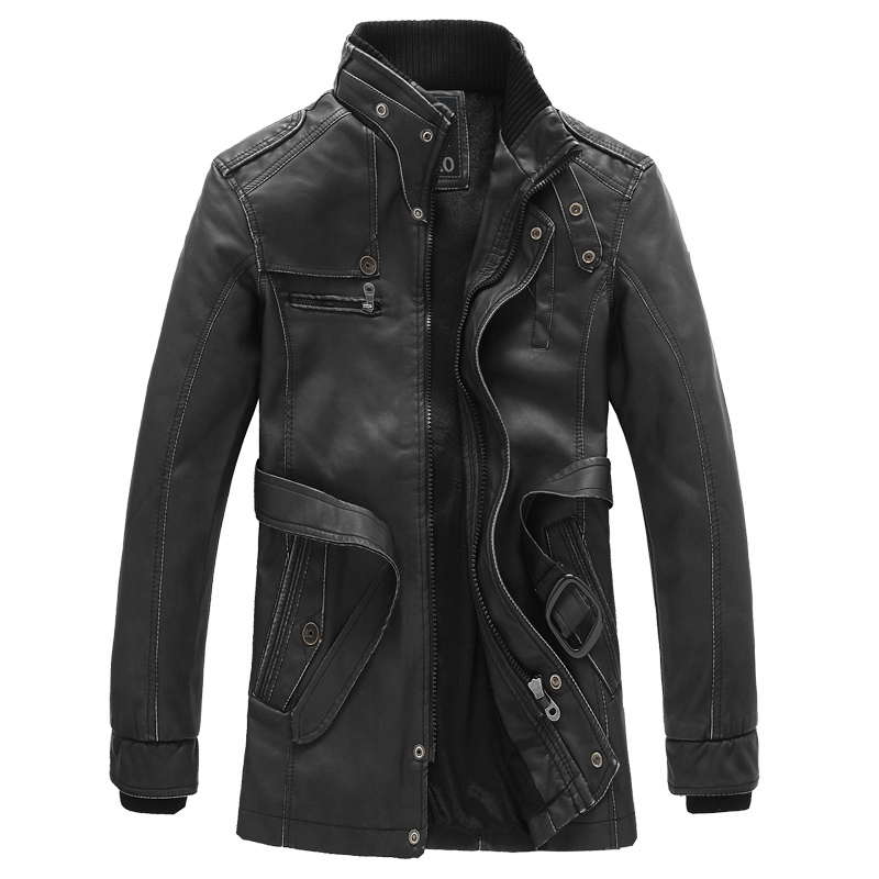 2014 New Rushed Fashion Motorcycle Leather Jacket Men Winter Thick Warm Vintage PU Leather Jackets Military Mens Trench Coat(China (Mainland))