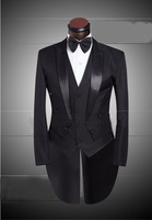 Latest Fashion Peak Lapel Tuxedo Wedding Suit Custom Made Black Tuxedo Vest Clothing Set Four Piece Suit((Jacket+Vest+Pants+Tie)