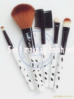 5 in1 brush sets black dots professional natural hair Makeup Kit cosmetic tool bag blush eyeshadow eyebrow whcn+