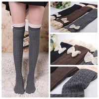 Lady Crochet Bow Lace Trim Knit Leg Warmer Boot Socks Knee High Winter[240505]