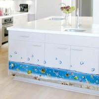 5set/lot Wholesale Transparent Bathroom Waterproof Vinyl Sticker For Bathtub Decor With Sea Word  Colorful Fish Stickers