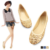 Free Shipping Fashion gold sequin flat single shoes women's shoes flat heel flat boat 3.5