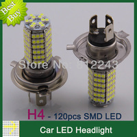 2pcs H4 Car LED Fog Lights Auto Driving SMD 3528 120 Car HeadLight Parking 12V Car Lamp LED Bulbs White Color 20026