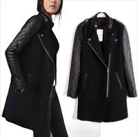 2014 new fashion Women's PU leather Sleeve windcoat winter Coat Overcoat  JOY058