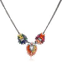 New 2014 Luxury Brand Rainbow Crystal Flower Choker Necklace fashion pendants Luxury bib Necklace Free Shipping Christmas Gifts