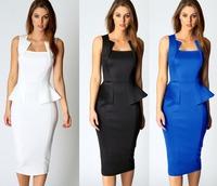 Ladies 2014 New Elegant Square Neck Fashion Work Wear Pencil Dress Midi Calf Peplum Dress Bodycon Party Dress Business Dress L