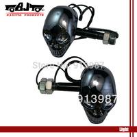 SL-015 Bright Black Motorcycle Skull 4 LED Turn Signals Indicators Amber Lights for honda yamaha kawasaki suzuki ducati harley