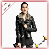 2013 New Brand fur faux leather Outerwear Fashion Women's Rivet big plus size PU Leather Jacket Coat Lady Hot Sale Free shipping