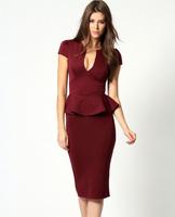2014 New Ladies Sexy Spring Summer Work Wear Deep U neck Ruffle Short Sleeve Blue Wine Red Peplum Dress Business Dresses 6173