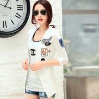 Korean casual jacket Summer girls business suits short blazer fashion Cotton Half Sleeve white blazer for women M L