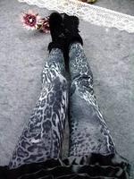 P06 New Arrival Autumn EUROPE Gray Leopard Pattern Print Faux Jeans Legging Skinny Elasticity Pants Fashion Women's Leggings