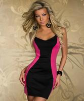 Ladies' Sexy  Party Dress V-Neck Sleeveless Women's Club Dress Slim Hip Zipper Type Lace Racerback Sexy Dress For Women 2872