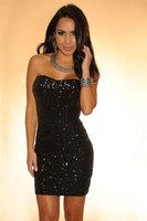 Ladies' Sexy Black Paillette Strapless Thickening  Party Dress Women's Elegant Mini Dress Slim Hip Bodycon Dress For Women 2685
