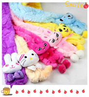 12pcs/lot 4 designs can be choose Cute baby cartoon coral velvet scarf children warm thermal scarves kids winter Neckerchief