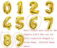 14 inch digital aluminum foil balloon/ 0 - 9 gold silver number/birthday balloons/wedding ballons