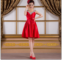 Wholesale - womens designer elegant pleated formal evening short bridesmaid prom dress V neck sequin red