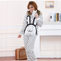 Fashion women Cute Carton cotton pijamadas winter and autumn dot rabbit princess long sleeve suit sleeping clothes women pajamas