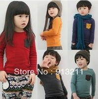 Retails. Promotion 100% cotton children t shirts autumn -summer kids long sleeve t shirt